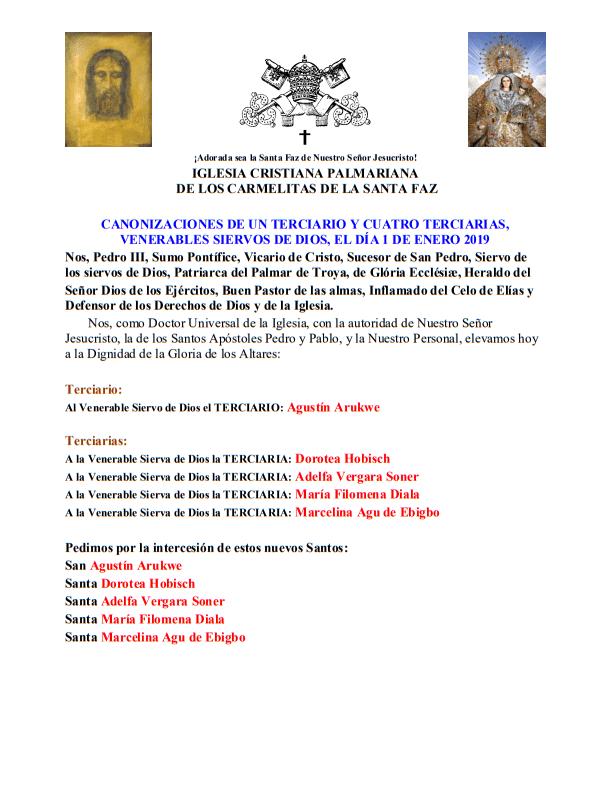 Canonisations de cinq tertiaires, de Dieu Venerables Servitaires, le 1er Janvier 2019  <br><br> En savoir plus